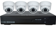 4CH 720P 1.0MP AHD Camera Kit Indoor Home Surveillance System 4 Dome Cameras Free Shipping
