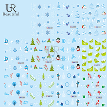 1Sheet Beautiful Watermark Nail Decals Christmas Nail Art Decorations Colorful Water Transfer Nail Stickers BEBLE1753-1763(China)