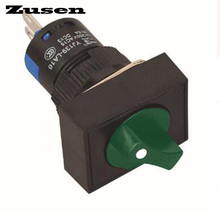 Zusen 16mm rectangle plastic selector switch 2 position LOCK 1NO1NC with dot lamp(LA16-11X/21/G/12V/J)