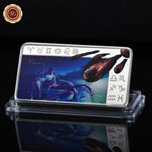 WR Cancer Twelve Constellations Commemorative Silver Bar Collectible Metal Bars Silver Art Collector Bar Zodiac Medal Gifts(China)
