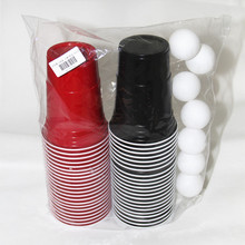 Free of shipping beer pong party pack accessories kit disposable plastic cup game set 22 red cups 22 black with 8 balls