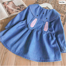 3112735 2018 Spring Baby Girls Dress Jean Rabbit Ears Toddler Girl Dress Girl Princess Dress Fashion Baby Dress Girls Clothes(China)