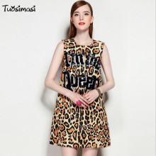 2017 autumn beading i am the queen letter Leopard printing tank mini Runways dresses( DG149)(China)