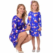 Mother Daughter Dresses new 2017 Party Dress Long Sleeve Family Matching Outfits Christmas Snowman Print Dresses Vestidos kids(China)