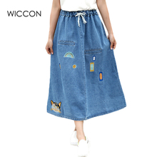 2017 New Casual Denim Jeans Skirts Embroidery Long Maxi Female Spring Summer For Womens Skirt faldas mujer Jeans Jupe WICCON