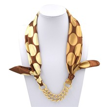 Fashion Women Lady Girls Wrap Silk Long Shawl Acrylic Elegance Gold Chain Plated Scarves Scarf