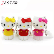 JASTER Hello Kitty Usb Flash Drive 64gb Pen Drive 32gb Pendrive 4gb 8gb 16gb Cartoon U Disk Flash Card kitty Memory stick gift