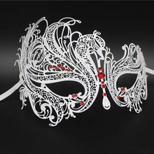 White Phantom Opera Phoenix Metal Venetian Masquerade Mask Swan Red Blue Rhinestone Wedding Party Show Ball Mardi Gras Masks