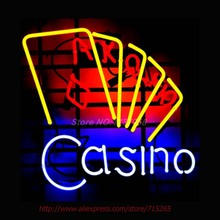 CASINO POKER CARDS Neon Sign Store Display Handcrafted Neon Bulb Great Real Glass Tube Advertise Neon Lamp Decorative VD 17x14