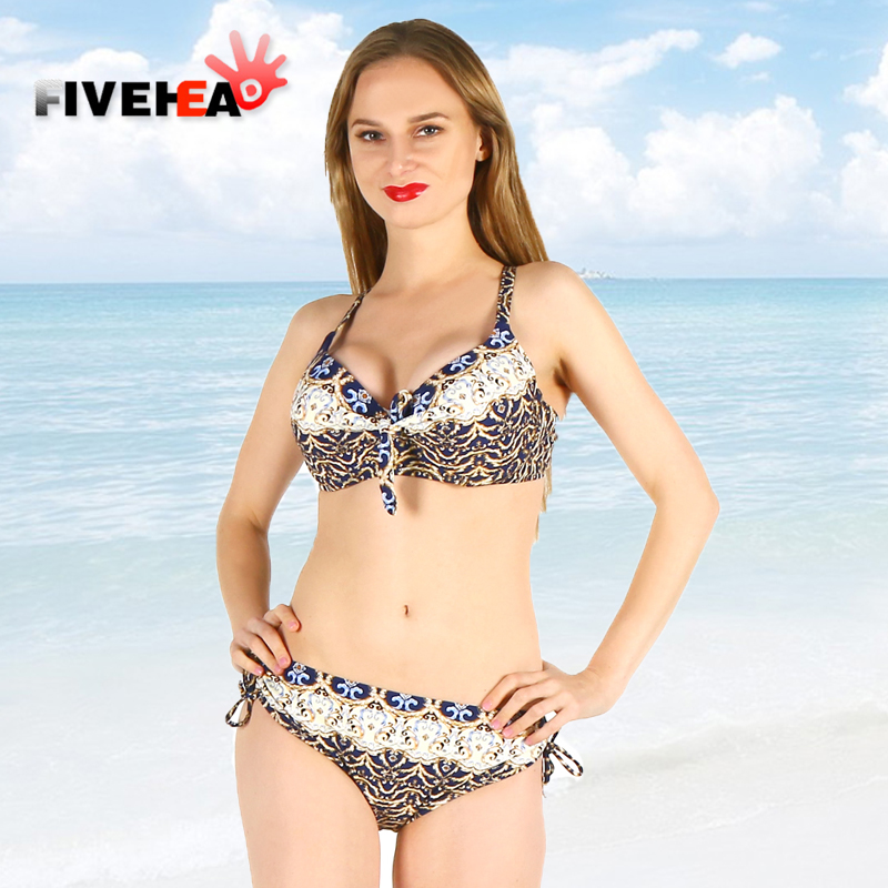 bikini women swimwear female sexy sling low waist halter deep v solid color printed large size big cup bathing swimsuit biquini<br>