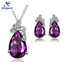 Kingwin 2017 new collection butterfly design color zircon jewelry sets with pendant necklace and earring for women