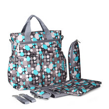Insular 6pcs diaper bag set colorful polka dot baby stroller bag organizer waterproof Mummy Tote diaper bag for nappy changing