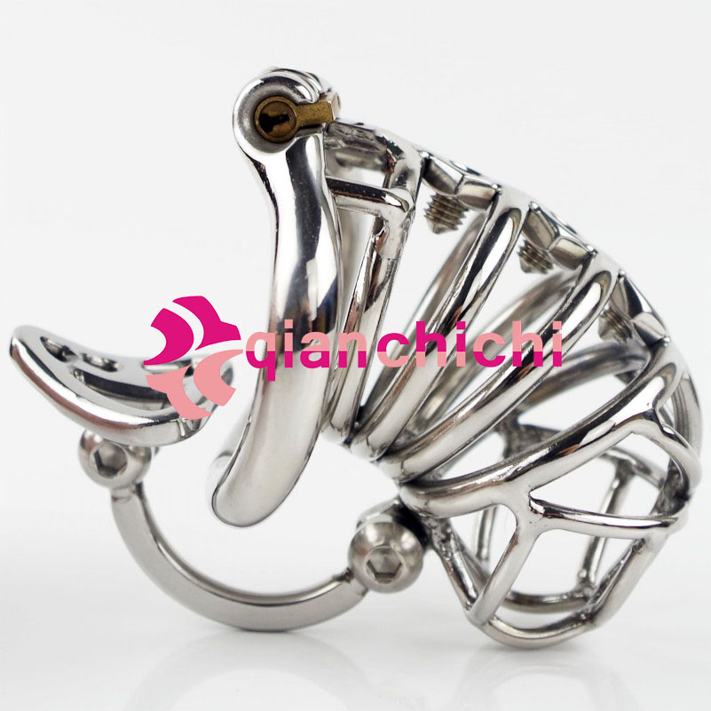 2017 Chastity Belt Men Stainless Steel with Removable Spikes and Massage Stimulate Device Qianchichi<br>