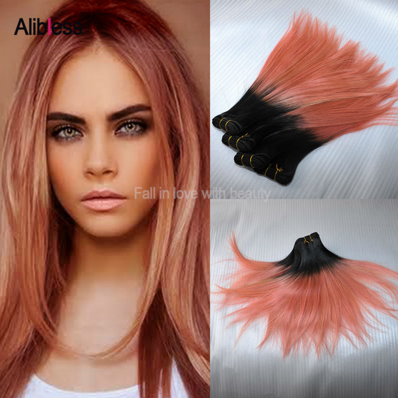 3pcs Rose Gold Ombre Brazilian Hair Straight,7A Two Tone Ombre Pink Human Hair Weave Bundles,Pink Brazilian Ombre Hair Extension<br><br>Aliexpress