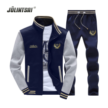 Jolintsai Zipper Jacket+Pant Polo Set 2017 Casual Men Sporting Suit Hoodie Men's Tracksuit Sweatshirt Male Two Pieces Set
