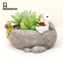 Roogo 5 design pastoral animal flowerpot frog bunny fee hedgehog rabbit shape succulent base micro landscape bonsai flower pots(China)