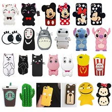 3D Cute Cartoon Soft Silicone Rubber Phone Case Cover Back for IPhone X 8 6 6s 7 Plus Case Unicorn Brown Bear Fruit Food Back(China)