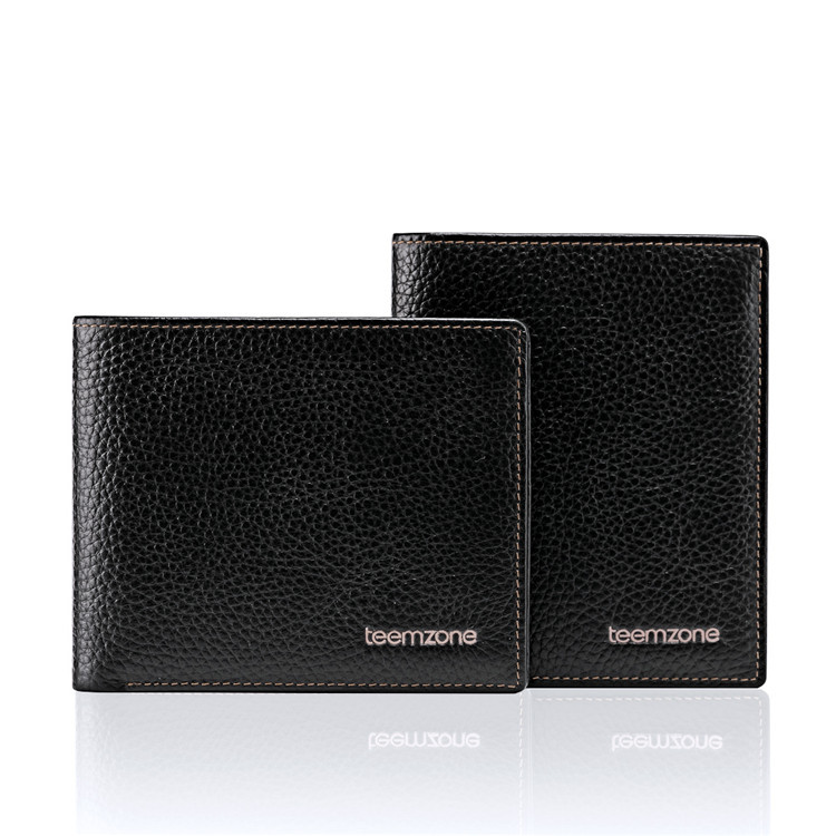 New Mens Top Genuine Leather Cowhide Bifold Wallet Credit Card Holder ID Window Rreceipt Pocket Black Free Shipping Q435<br><br>Aliexpress
