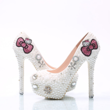 Large Size Hello Kitty Rhinestone Wedding Shoes Bridal Pumps Handmade White Pearl Women High Heels Party Prom Shoes Middle Heel(China)