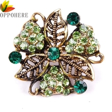Factory Direct Sale Crystal Rhinestones Flower Brooch Pins for Women in Antique Gold Color
