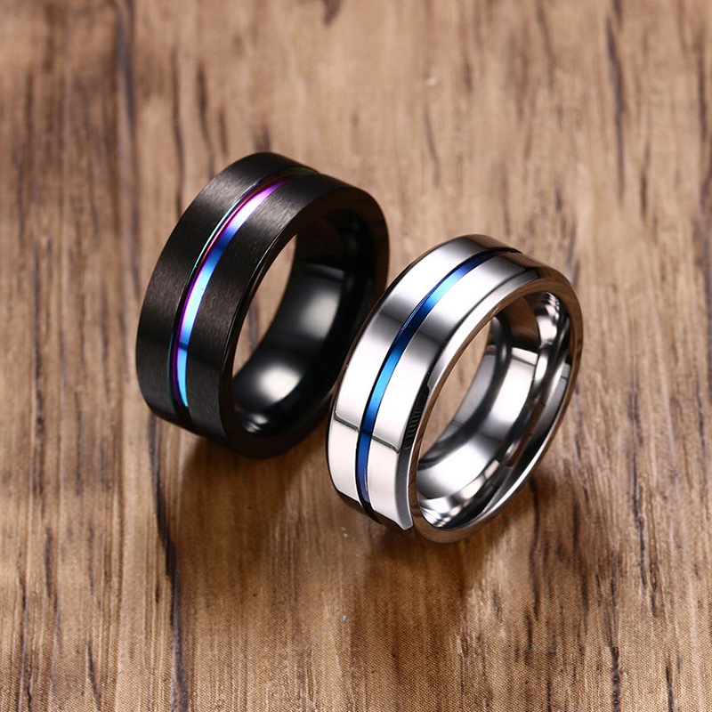 8MM Black Titanium Rainbow Groove Rings