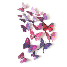 Free shipping 12pcs/lot PVC Wall Stickers Magnet Butterflies DIY Wall Sticker Home Decor Poster Kids Rooms Wall Decoration(China)