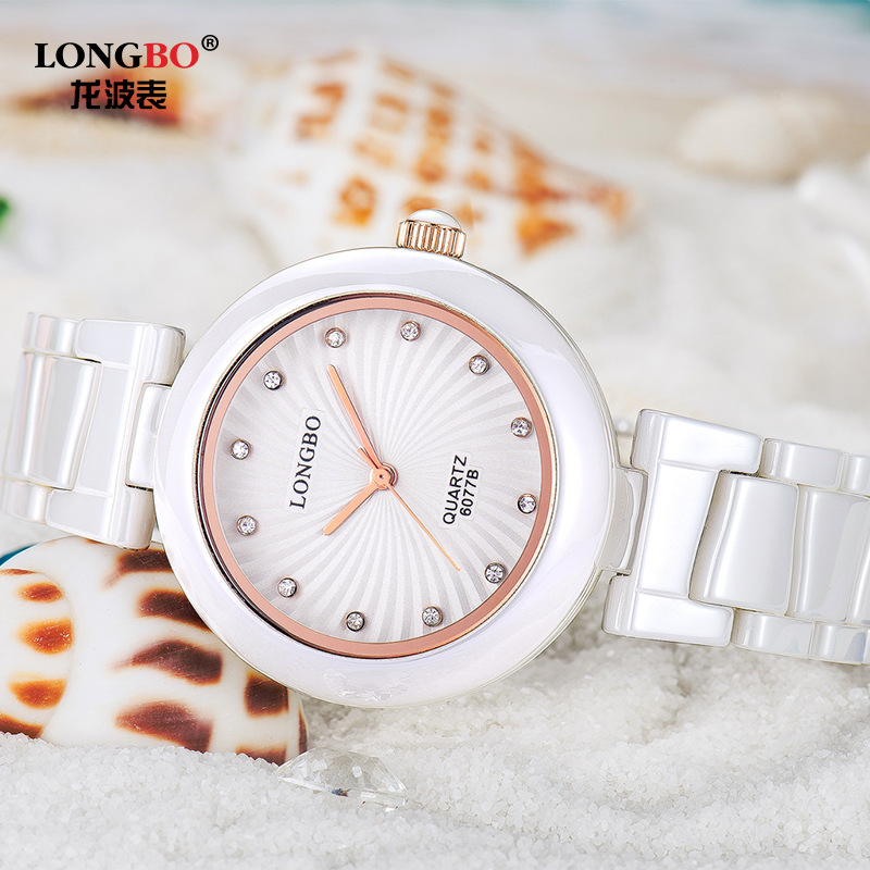 Famous Brand For Women Rose Gold Orchid Flower Diamonds White Ceramic Stainless Steel Waterproof Quartz Watches moda mujer Clock<br>
