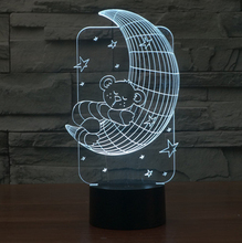 Creative Moon and bear shape 3D Illusion lamp,touch switch 7 color changing Acrylic LED Night light  Children baby Bedroom Lamp