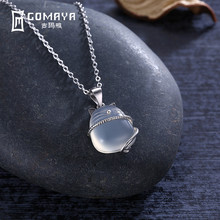 GOMAYA Women Child 925 Sterling Silver Cat Moonstone Pendant Necklace Clear Crystal Chain Natural Stone Jewelry Collares Mujer(China)