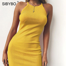 Buy Sibybo Halter Sleeveless Backless Bodycon Dress Summer Style Crew Neck Mini Sexy Dress Women Beach Ladies Casual Dresses