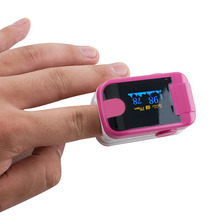 Finger Pulse Oximeter With Audio Alarm & Pulse Sound  Finger Clip SPO2 PR Small OLED Display Blood Oxygen Meter Rose Red