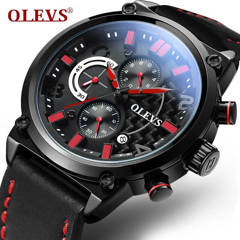 Black Leather Waterproof Watch Men Sport mesh belt Clock Mens Army Watches Military Wrist watch Chronograph Men reloj hombre<br>