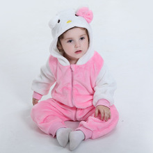 Baby girls Kitty jumpsuit Thick Coral fleece baby rompers Lovely pink baby crawling clothes