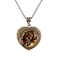 Bioshock Infinite Murder Of Crows Bronze Heartshaped Pendant Necklace Bioshock Infinite Quote Retro Bead Chain Necklace Men Gift(China)