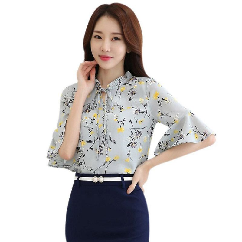 ETOSELL Summer Blouse Fashion Print Floral Chiffon Women Shirts Casual Female Butterfly Sleeve Blouse Tops Blusas S-3XL