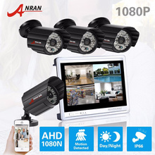 New ANRAN 4CH HD 12 Inch LCD Monitor AHD DVR CCTV Kit Surveillance 4pcs 1080P 48 IR Day Night Waterproof Security Camera System