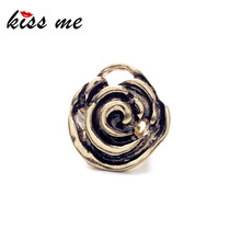 Women Unusual Crazy Nightclub Ancient Gold Color Rose Rings Factory Wholesale