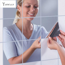 9/16pcs Modern 3D Self Adhesive Acrylic Silver Mirror Tile Square Wall Stickers For Bathroom Kitchen Room Home Decor Waterproof