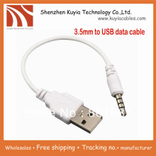 10pcs/lot!Free shipping+3.5mm to USB DATA Sync Adapter Cable for iPod Shuffle 2nd Gen mp3 mp4 phone+ wholesales