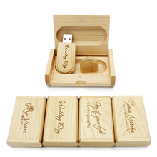 Real capacity Hot Selling Maple wooden usb + box shape pendrive 8GB Memory Stick Flash Drive Pen Driver U Disk wedding gifts