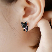 3D animal cat shamballa earrings double earrings for women fashion jewelry aros brincos boucle d'oreille stud earing(China)