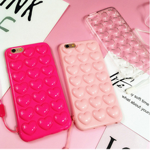 TIKITAKA Korean Love Heart Jelly Candy Soft Silicone TPU Back Cover With Lanyard Phone Cases For iphone 5 5S SE 6 6S 7 Plus Case