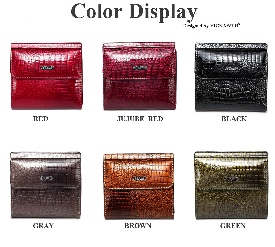 VICKAWEB Mini Wallet Women Genuine Leather Wallets Fashion Alligator Hasp Short Wallet Female Small Woman Wallets And Purses-AE209-003