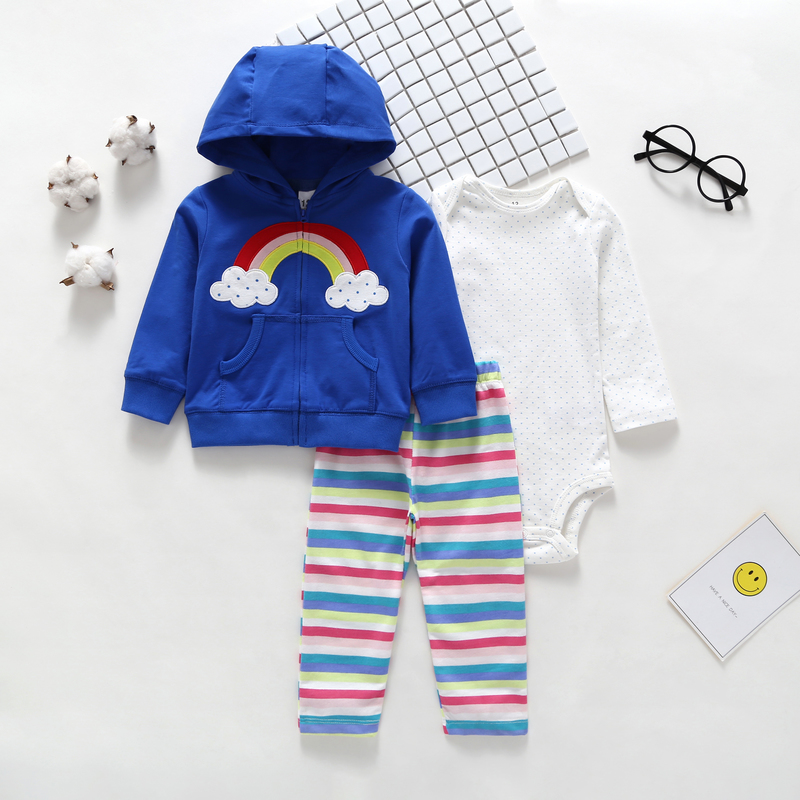 3 pieces outfit for 6-24 month baby boy girl autumn winter new born set long sleeve rainbow hooded jackets&tops+bodysuit+pant