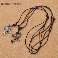 fashion lychee 1 Pc Gothic Punk Imitation Bone Egyptian Cross Pendant Necklace Long Chain Choker Necklace Women Men Jewellery
