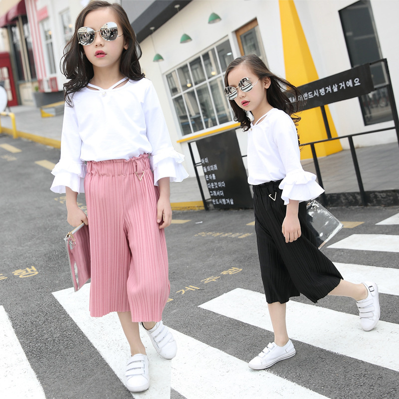 2017 Spring New Product Girl Child Lotus Leaf Sleeve Chiffon Pants Suit 2 Pieces<br>