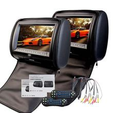 Pair of 9Inch HD 1080P Digital TFT LCD Screen Auto Monitor Car cd pillow Headrest DVD Player with Game Dis support IR Headphone