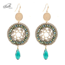 Badu Bohemia Statement Earring for Women Natural Stone Pendant Crystal Crochet Earrings Fashion Jewelry Mother Gift Wholesale(China)