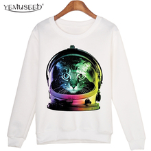 YEMUSEED 2016 Women Space Cat Hoodies Casual Women Long Sleeve Crew Neck Sweatshirts Hipster WMH116
