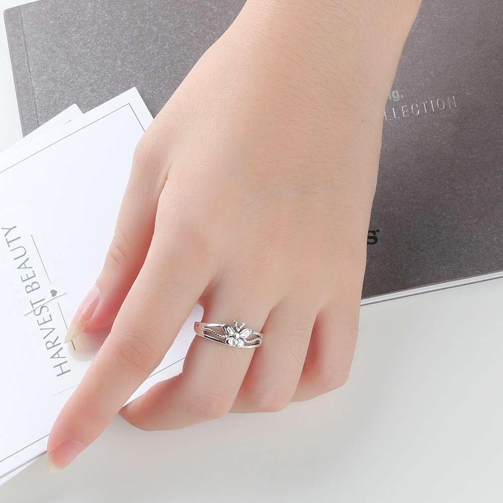 خاتم فضة بفراشة صغيرة 5